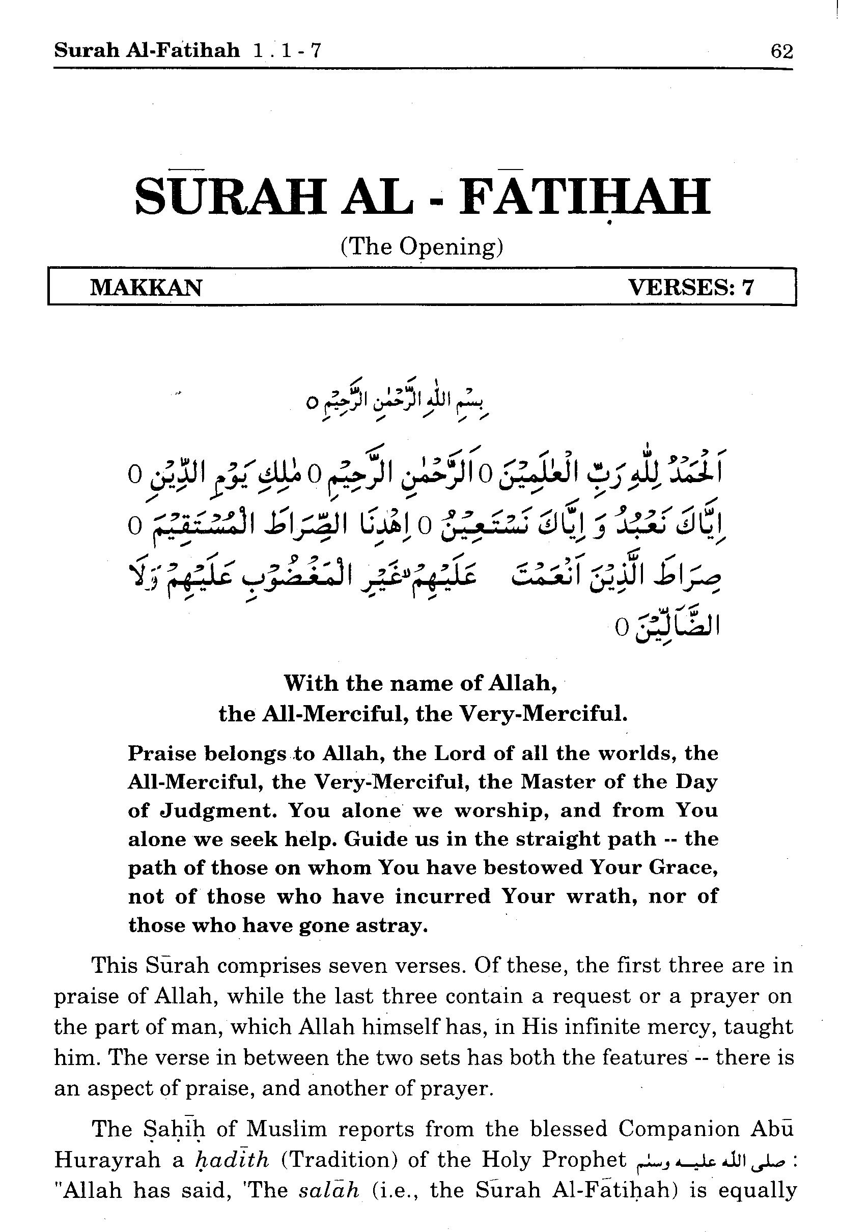 Surah Al Fathiha 1 1 7 Maariful Quran Maarif Ul Quran Quran Translation And Commentary