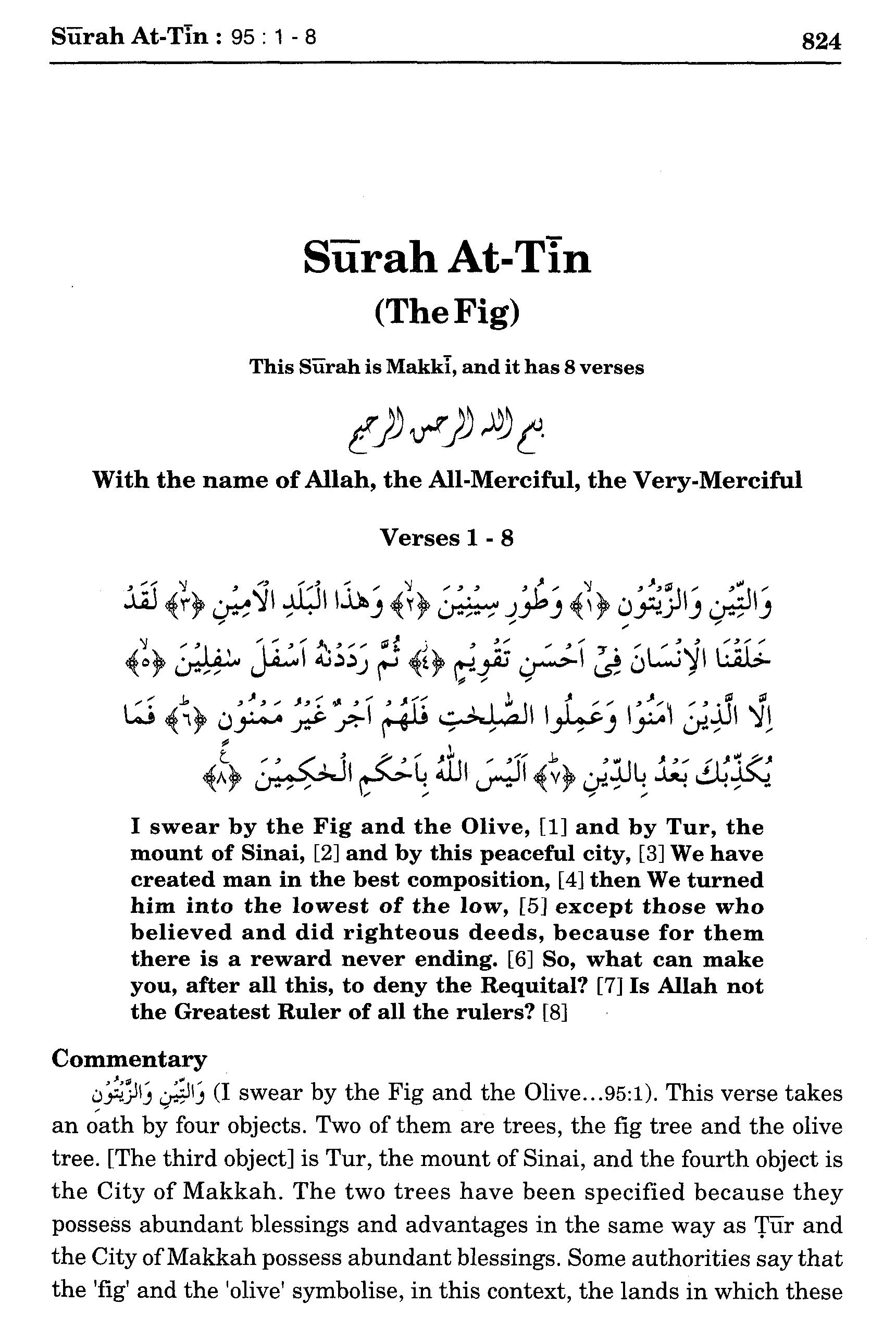Surah At Tin 951 8 Maariful Quran Maarif Ul Quran